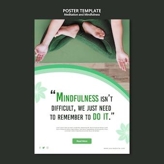 Concepto de cartel de meditación y mindfulness