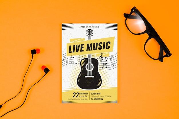 Concepto de cartel musical con guitarra