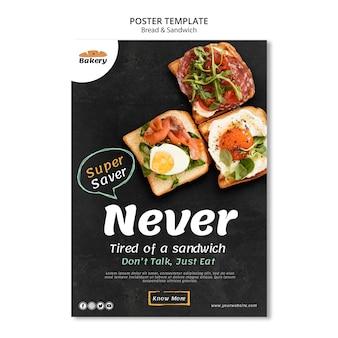 Concepto de cartel de pan y sándwich