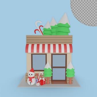 Concepto de casa de mercado de navidad 3d diseño de representaciones aisladas