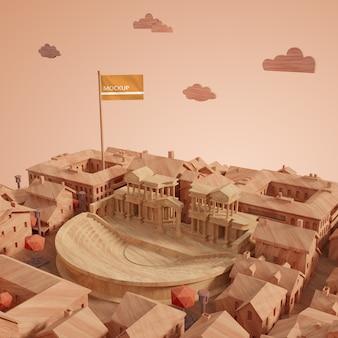 Concepto de ciudades día mundial edificio 3d