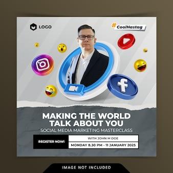 Concepto creativo de redes sociales instagram en vivo para la plantilla de promoción de marketing digital