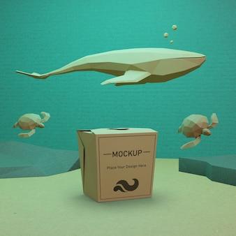 Concepto del día del océano con bolsa de papel y tortugas