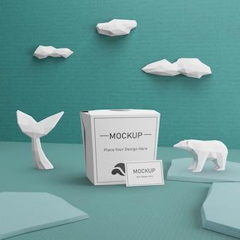 Concepto del día del océano con bolsa de papel