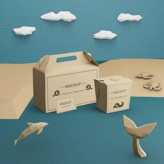 Concepto de día del océano con delfines