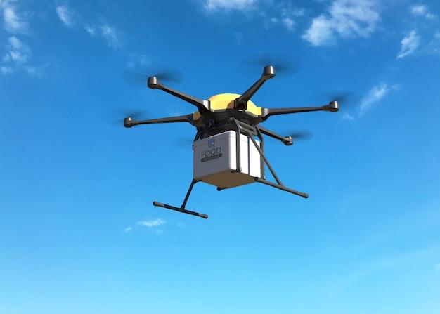 Concepto de drone de entrega de alimentos
