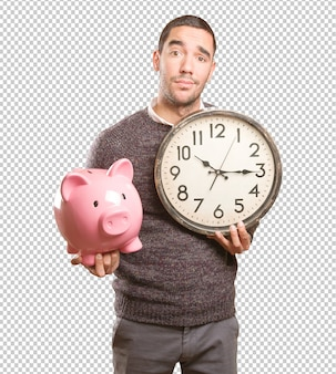 Concepto de un dudoso ahorrador preocupado por el tiempo.