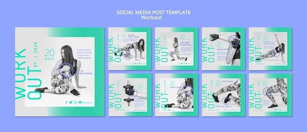 Concepto de entrenamiento publicación en redes sociales
