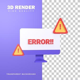 Concepto de error de renderizado 3d con señal de advertencia.