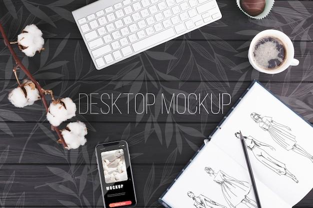Concepto de escritorio con maqueta de teclado