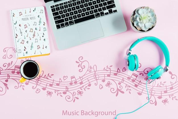 Concepto de escritorio de músico artista