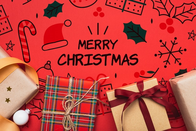Concepto de feliz navidad con regalos coloridos