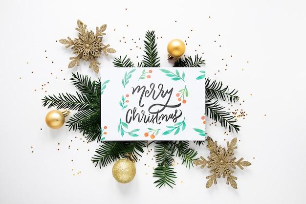Concepto de feliz navidad en una tarjeta