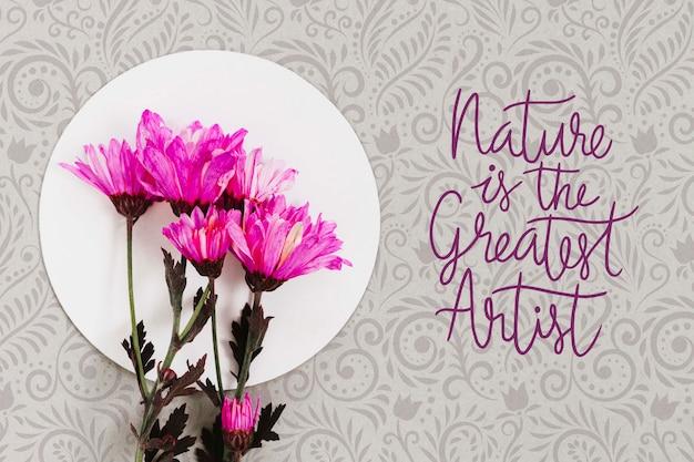Concepto de flores coloridas de vista superior
