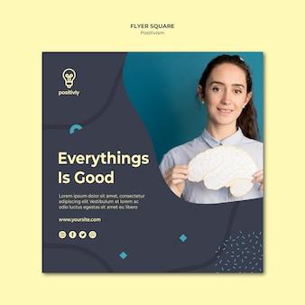 Concepto de flyer cuadrado de concepto de positivismo