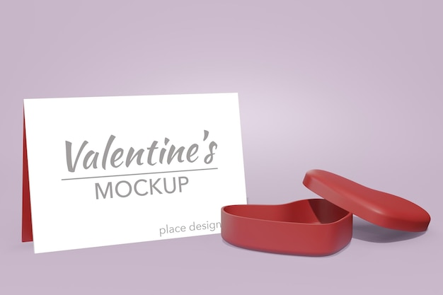 Concepto de fondo encantador feliz día de san valentín en maqueta de tarjeta modelo 3d