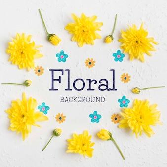 Concepto de fondo floral vista superior