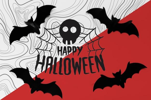 Concepto de halloween con silueta de telaraña