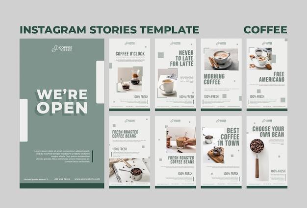 Concepto de historias de instagram de café