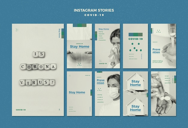 Concepto de historias de instagram de coronavirus