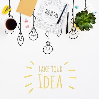 Concepto de idea de cuaderno y bolígrafos