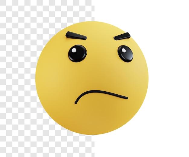 Concepto de ilustración 3d emoji con expresión decepcionada