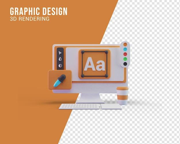 Concepto de ilustración de pantalla de computadora de diseño gráfico, renderizado 3d