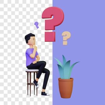 Concepto de ilustración de pensamiento 3d con diseño simple