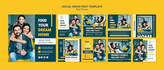 Concepto inmobiliario publicaciones en redes sociales