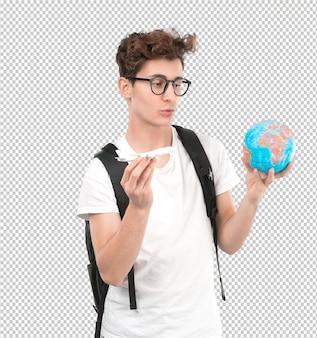 Concepto de un joven estudiante que quiere viajar