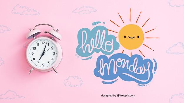 Concepto de lunes con reloj despertador