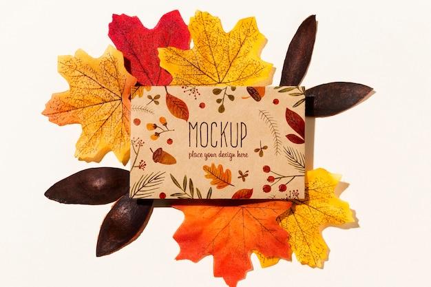 Concepto de maqueta de otoño con hojas