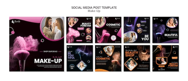 Concepto de maquillaje publicación en redes sociales
