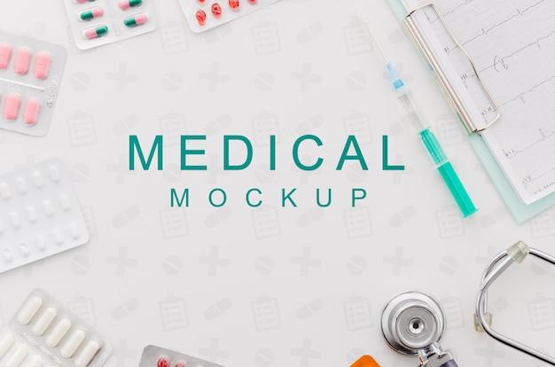 Concepto médico de vista superior con maqueta