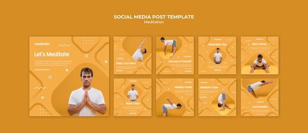 Concepto de meditación publicación en redes sociales
