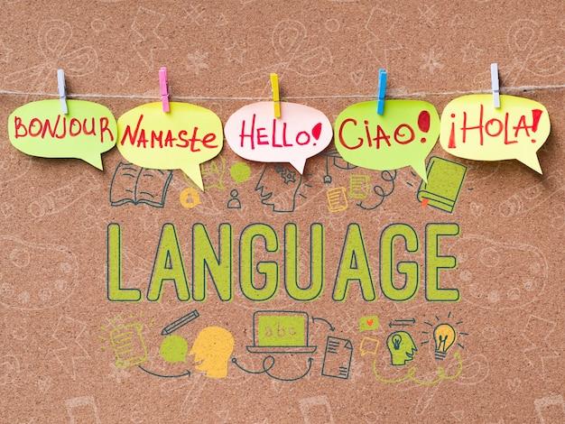 Concepto de mensaje de saludo multilingüe