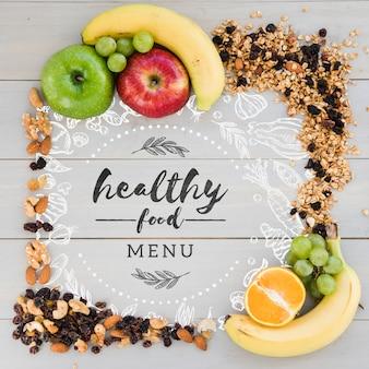 Concepto de menú de comida sana con espacio de copia