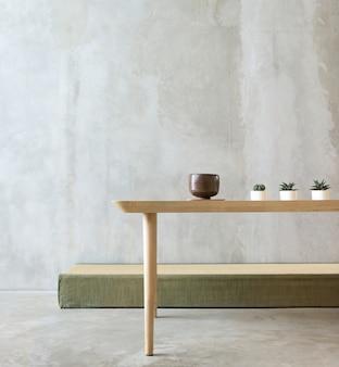 Concepto de minimalismo de mesa de habitación vacía