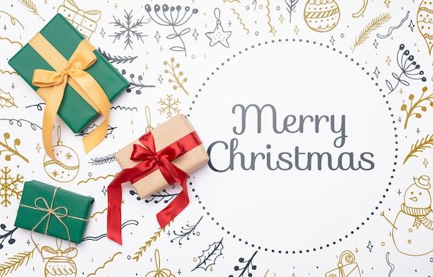 Concepto de navidad con regalos coloridos
