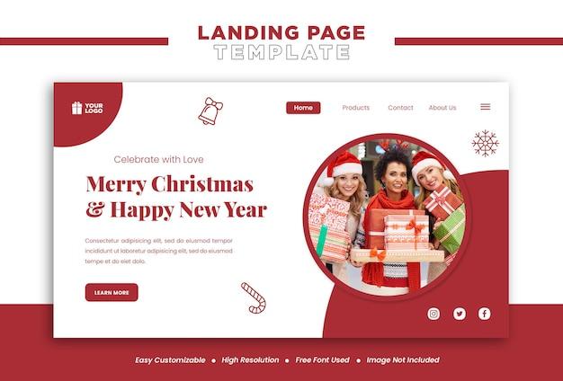 Concepto de página de destino de feliz navidad y año nuevo o plantilla de banner de redes sociales