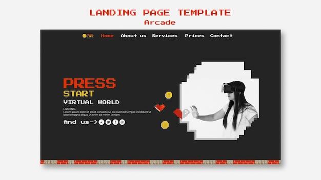 Concepto de página de inicio de arcade