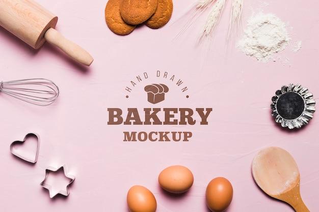 Concepto de panadería de vista superior con maqueta