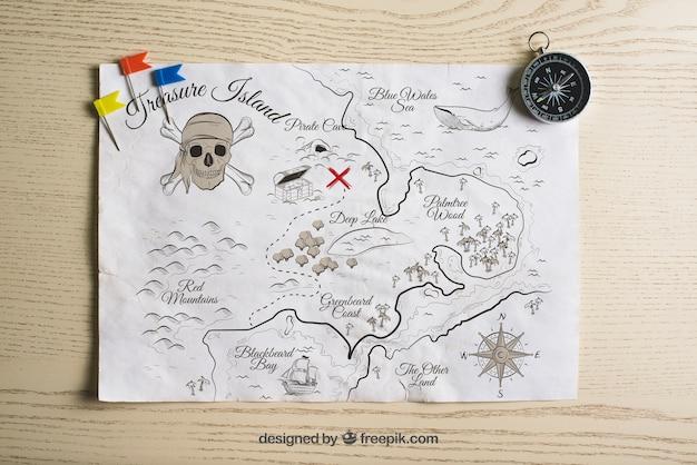 Concepto pirata de mapa de tesoro