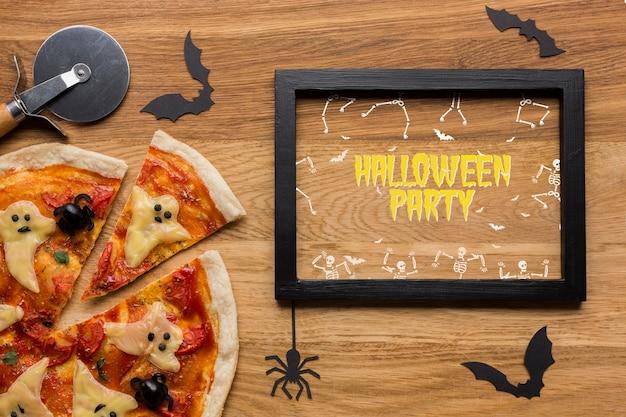 Concepto de pizza de halloween de maqueta