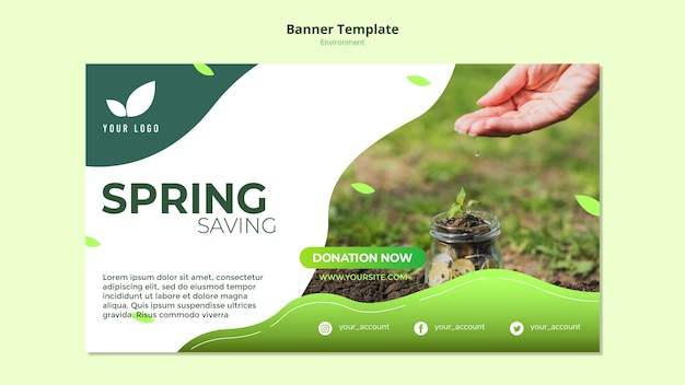 Concepto de plantilla de banner de ahorros de primavera