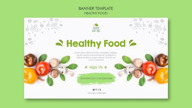 Concepto de plantilla de banner de alimentos saludables