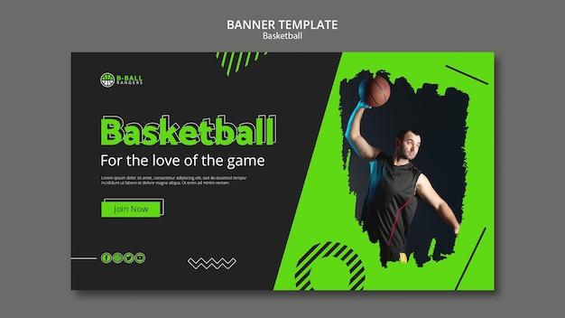 Concepto de plantilla de banner de baloncesto