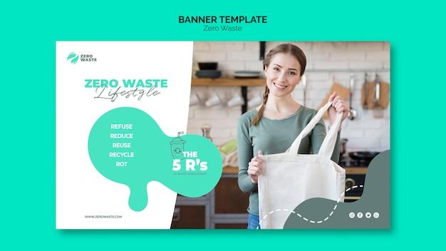 Concepto de plantilla de banner de cero residuos