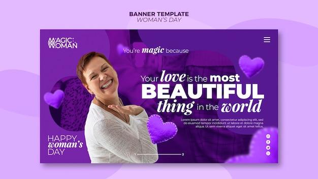 Concepto de plantilla de banner para evento del día de la mujer