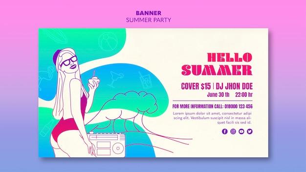 Concepto de plantilla de banner de fiesta de verano
